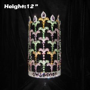 12inch Fleur De Lis Rhinestone Adjustable Pageant Crowns