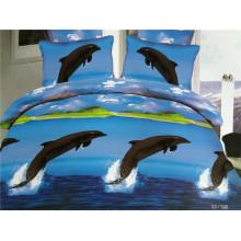 Los delfines felices saltando en el océano azul oscuro diseña los muebles de la habitación de la cama