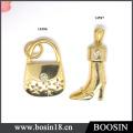 Fashion Twinkling Women Gold High Heel Boot Pendant #14596