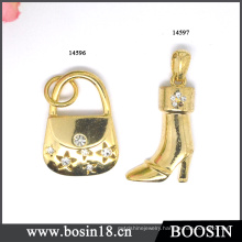 Fashion Twinkling Women Gold High Heel Boot Pendant #14596