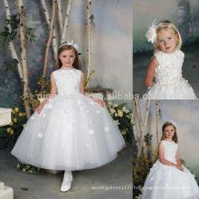 Lovely 2014 O-Neck cheville-longueur Tulle jupe robe de bal Flower Girl Robe motifs pour le mariage avec des appliques Custom Made NB0907