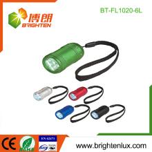 Fabrik-Massen-Verkauf 2 * CR2032 Knopf-Zelle benutzte preiswerte Metall scherzt 6 geführte Minitaschenlampe