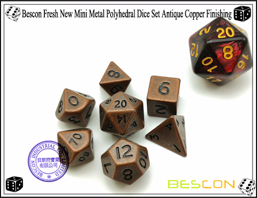 Bescon Fresh New Mini Metal Polyhedral Dice Set Antique Copper Finishing-1