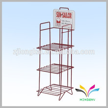Free Standing Powder Coated Metal Wire Newspaper Display Shelf with reasonable price