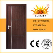 Домашний интерьер ПВХ двери МДФ двери кожи (СК-P187)