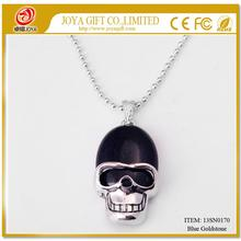 Blue Goldstone Skull Gemstone Pendant Necklace with Silver chain