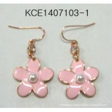 Elegant Pink Flower Earrings with Pearl
