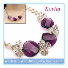 Beste Schmuck Kristall und Amethyst Perlen Halskette in 925 Sterling Silber Schnur