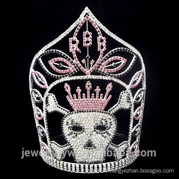 Wholesale silver plated Crystal skull halloween crown