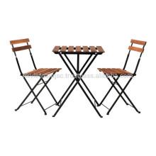 Table pliante en plein air Table en acrylique Acacia en métal