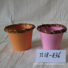 Leading for Garden Flower Pots Round Balcony Metal Iron Flower Pot supply to Indonesia Factory