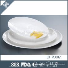 Prato de jantar oval mais vendido, louça de porcelana branca para hotel