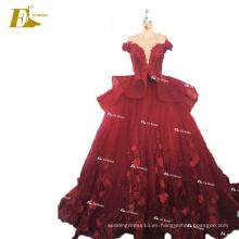 ED nupcial China por encargo fuera de los hombros Appliques bola vestido de organza vestido de novia de color rojo