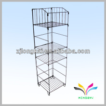 4 shelves 1 dump bin foldable store stainless steel wire rack shelf