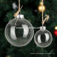 Vente en gros 8cm Noël clair suspendu verre bauble