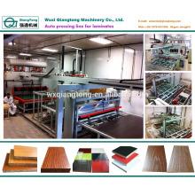 Máquina de laminación en caliente de laminación de melamina de ciclo corto para tableros de muebles de madera