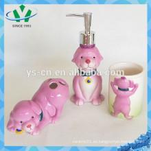 Juego de baño de cerámica de perro divertido para niños