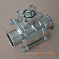 Sanitary clamped valve lever handle ball valve