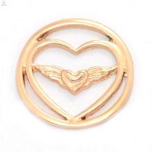 Mode nouveau rose or alliage double coeur plaques de fenêtre pour les charmes flottants collier médaillon pendentif bijoux