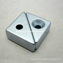 Dreieckige Form Loch N35sh Magnet mit hoher Arbeit Tempatur