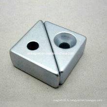 Aimant N35sh de trou de forme triangulaire avec une tempature de travail élevée