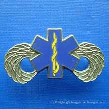 Gold Plating Badge with Printing Blue Color (GZHY-BADGE-019)