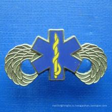 Золотой значок покрытия с печатью синий цвет (GZHY-BADGE-019)