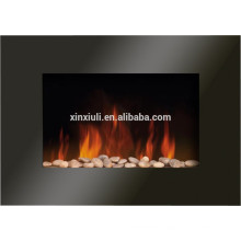Glass indoor wall mounted fireplace