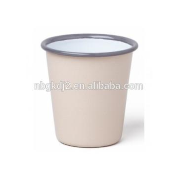 High quality enamel tumbler mug with black color rolled rim for UK Tumbler Mug