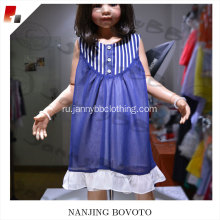 chiffon fabric stripe navy white toddler dress