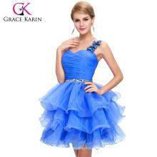 Grace Karin Señoras Organza corto rebordeado un hombro vestidos de cóctel CL4589-5
