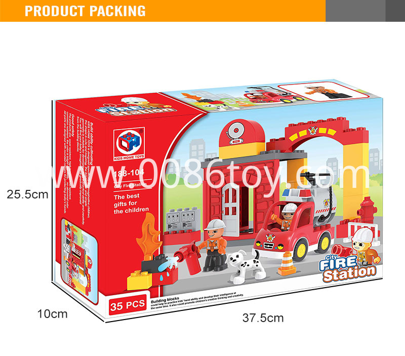 Kids Toy Fire Brigade Abs Plastic Block