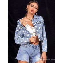 Hot Style Women′s Denim Jacket Star Print Denim Jacket for Ladies