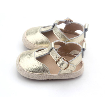 Gold T Bar Toddler Baby Sandals Dress Shoes