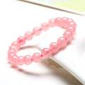 Bracelet en perles de quartz rose véritable avec pierres semi-précieuses