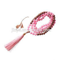 108 Pink Gemstone Wooden Meditation Beaded Necklace Yoga Tassel Necklace Jewelry