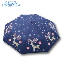 Atacado Forte À Prova de Vento Pára-Sol Moda Chuva Criança Guarda-chuva Dos Cervos Padrão Personagem de Desenho Animado Guarda-chuva Personalizado Impresso
