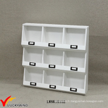 Fait à la main Petit mur décoratif en bois blanc Étagères en bois blanc