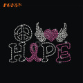 Hope Pink Ribbon Hot Fix Rhinestone Transferencia