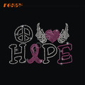 Heart Wing Hope Pink Ribbon Heat Rhinestone Motif
