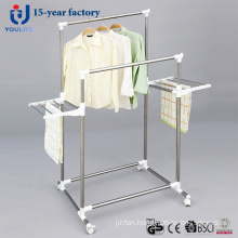 Stainless Steel Double Rod Clothes Hanger with Two Extra Racks