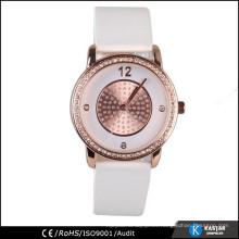 Reloj del caso de la aleación del reloj del cuarzo de la correa de cuero de la PU
