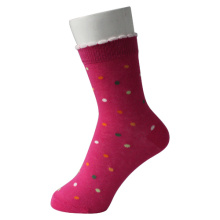 Girl Over Ankle Pink Socks with Colored Dots