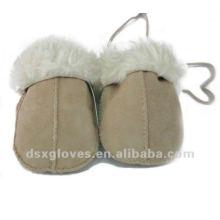 Guantes de invierno de piel de oveja bebé