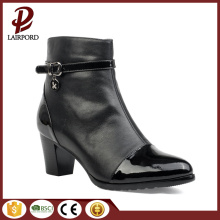 med heel ankle pu leather Stitching boots