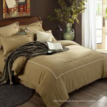 Tecido de tencel dourado de luxo Amazon venda quente mr preço casa cama conjunto de capa de edredão