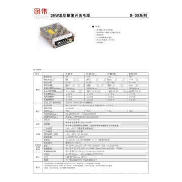 Venta al por mayor S-35W 5V 12V 15V 24V Fuente de alimentación de conmutación