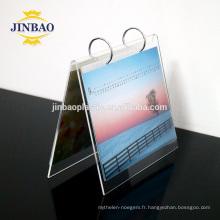 Jinbao clair matériau plastique présentoir supports acrylique calendrier de bureau