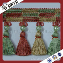 Colorful Rainbow Beads Curtain Trim Lace tassel fringe ,used for drapes,cushions,curtain and accessories,made in China