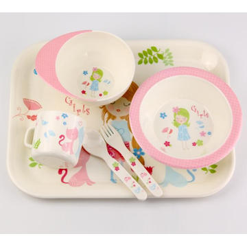 (BC-MK1005) Fashinable Design Reusable Melamine 6PCS Kids Cute Dinner Set